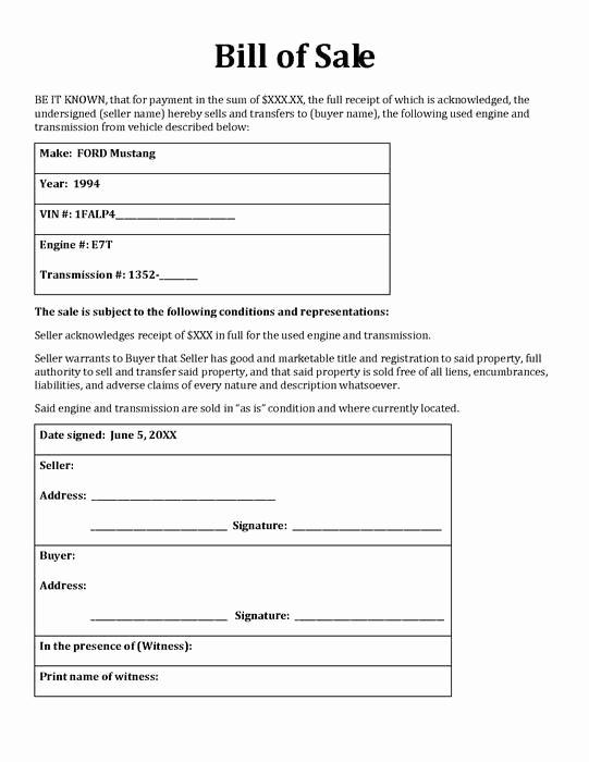 Blank Bill Of Sale Vehicle Best Of Free Printable as is Vehicle Bill Sale form