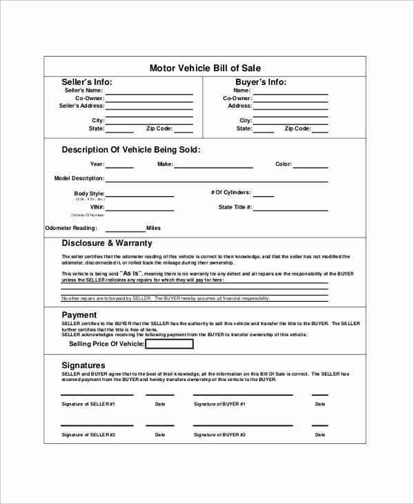 Blank Bill Of Sale Vehicle Elegant 9 Blank Bill Of Sale Samples