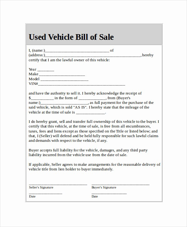 Blank Bill Of Sale Vehicle Elegant Used Car Bill Sale Template
