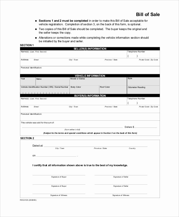 Blank Bill Of Sale Vehicle Fresh 9 Sample Bill Of Sale forms