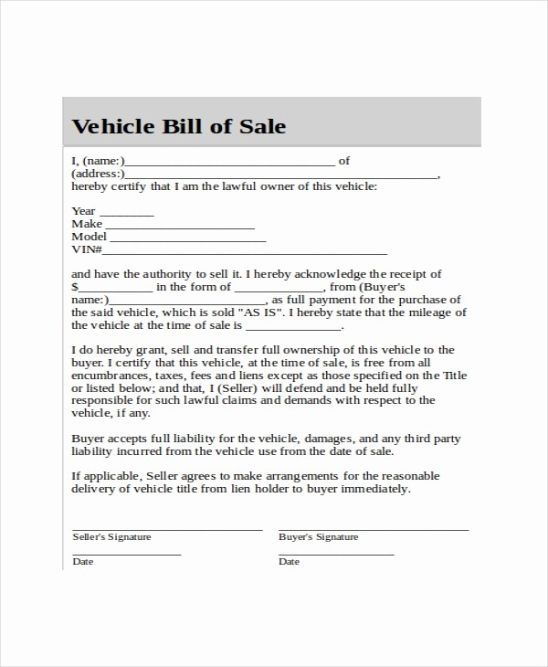 Blank Bill Of Sale Vehicle Fresh Blank Bill Of Sale Template 7 Free Word Pdf Document