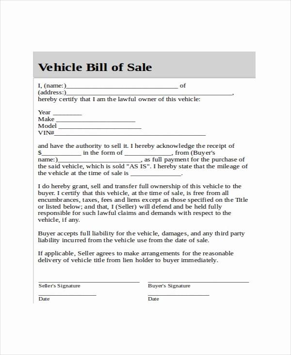 Blank Bill Of Sale Vehicle Fresh Blank Bill Of Sale Template 7 Free Word Pdf Document