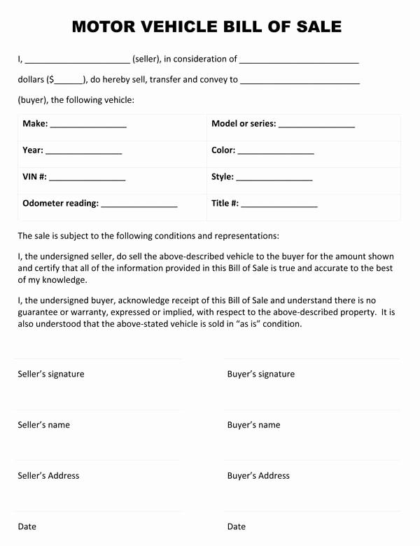 Blank Bill Of Sale Vehicle Fresh Motor Vehicle Bill Sale form