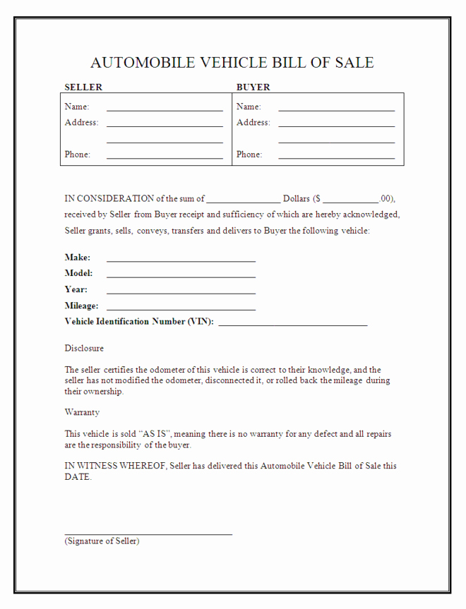 Blank Bill Of Sale Vehicle Inspirational Downloadable Automotive Vehicle Bill Sale Fill In form