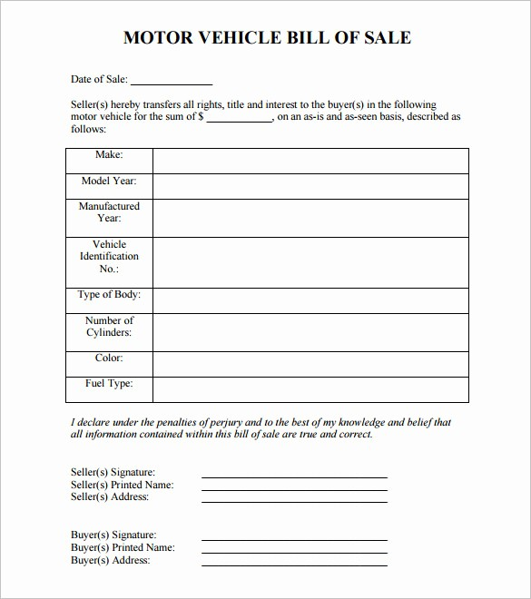 Blank Bill Of Sale Vehicle Lovely 8 Auto Bill Of Sale Doc Pdf