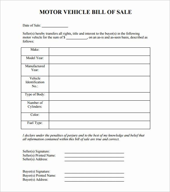 Blank Bill Of Sale Vehicle Lovely 8 Auto Bill Of Sale Doc Pdf