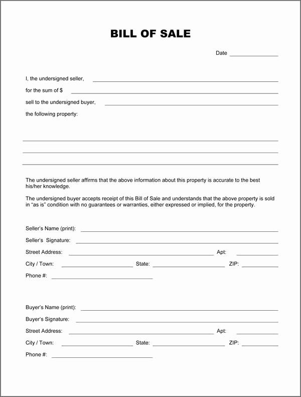 Blank Bill Of Sale Vehicle Luxury Blank Bill Sale form Download Pdf Doc formats