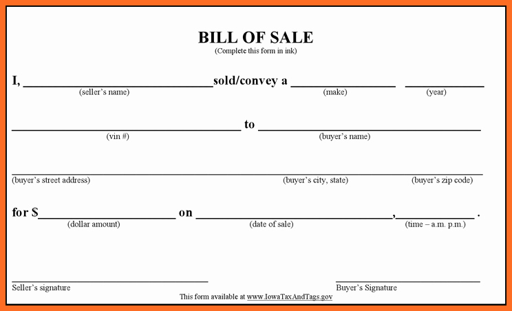 Blank Bill Of Sale Vehicle Luxury Blank Bill Sale Template – Free Download