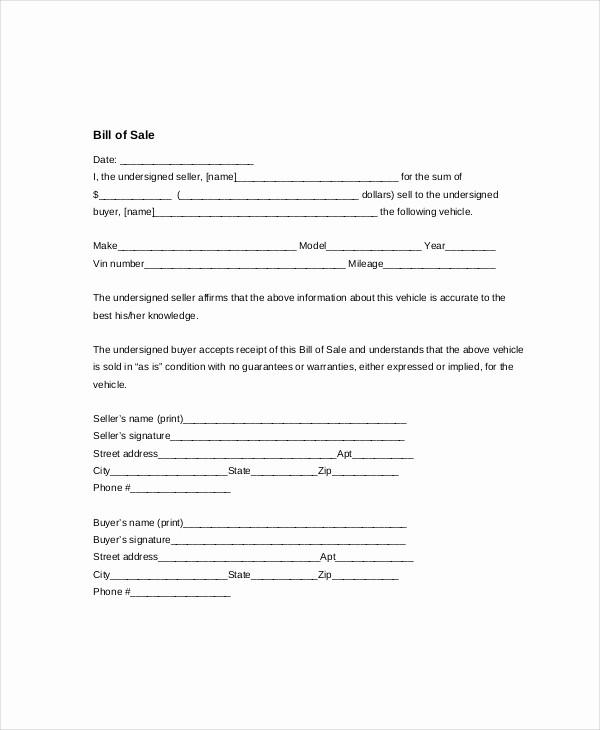 Blank Bill Of Sale Vehicle Luxury Vehicle Bill Of Sale Template 14 Free Word Pdf