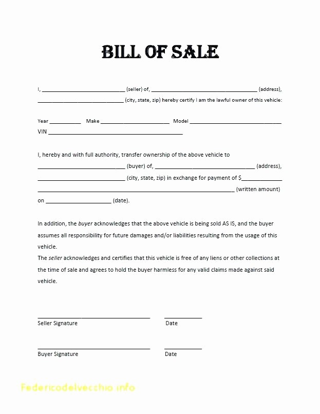 Blank Bill Of Sale Vehicle New 15 Free Printable Bill Of Sale for Car