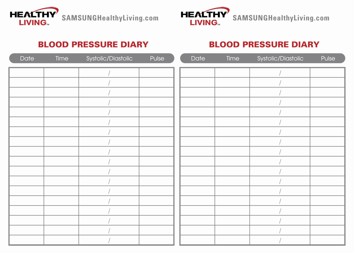 Blank Blood Pressure Tracking Chart New 8 Best Of Sugar Blood Pressure Log Printable