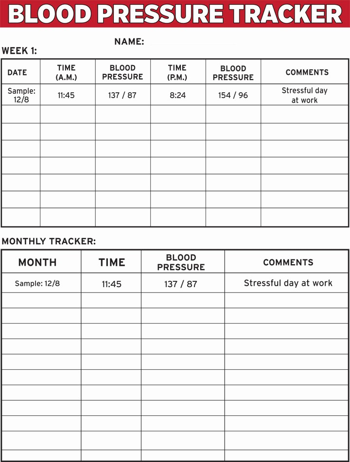 Blank Blood Pressure Tracking Chart Unique 8 Best Of Blood Pressure Tracker Printable Chart