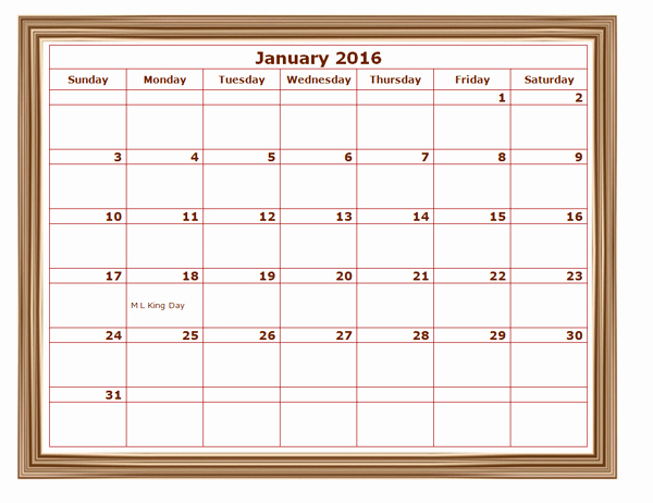 Blank Calendar 2016-17 Awesome 2016 Monthly Calendar Template 07 Free Printable Templates