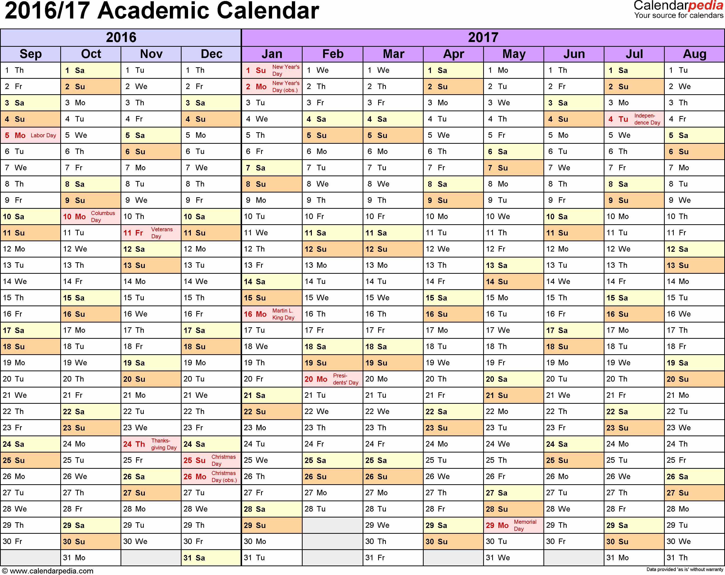 Blank Calendar 2016-17 Awesome Academic Calendars 2016 2017 Free Printable Excel Templates