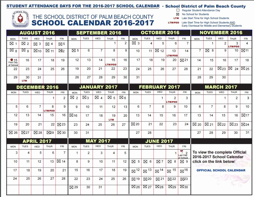 Blank Calendar 2016-17 Awesome Pbc School Starts Aug 15 Earliest In A Decade Here's