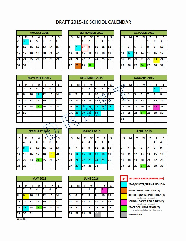 Blank Calendar 2016-17 Awesome School Calendar Steering Group north Vancouver School