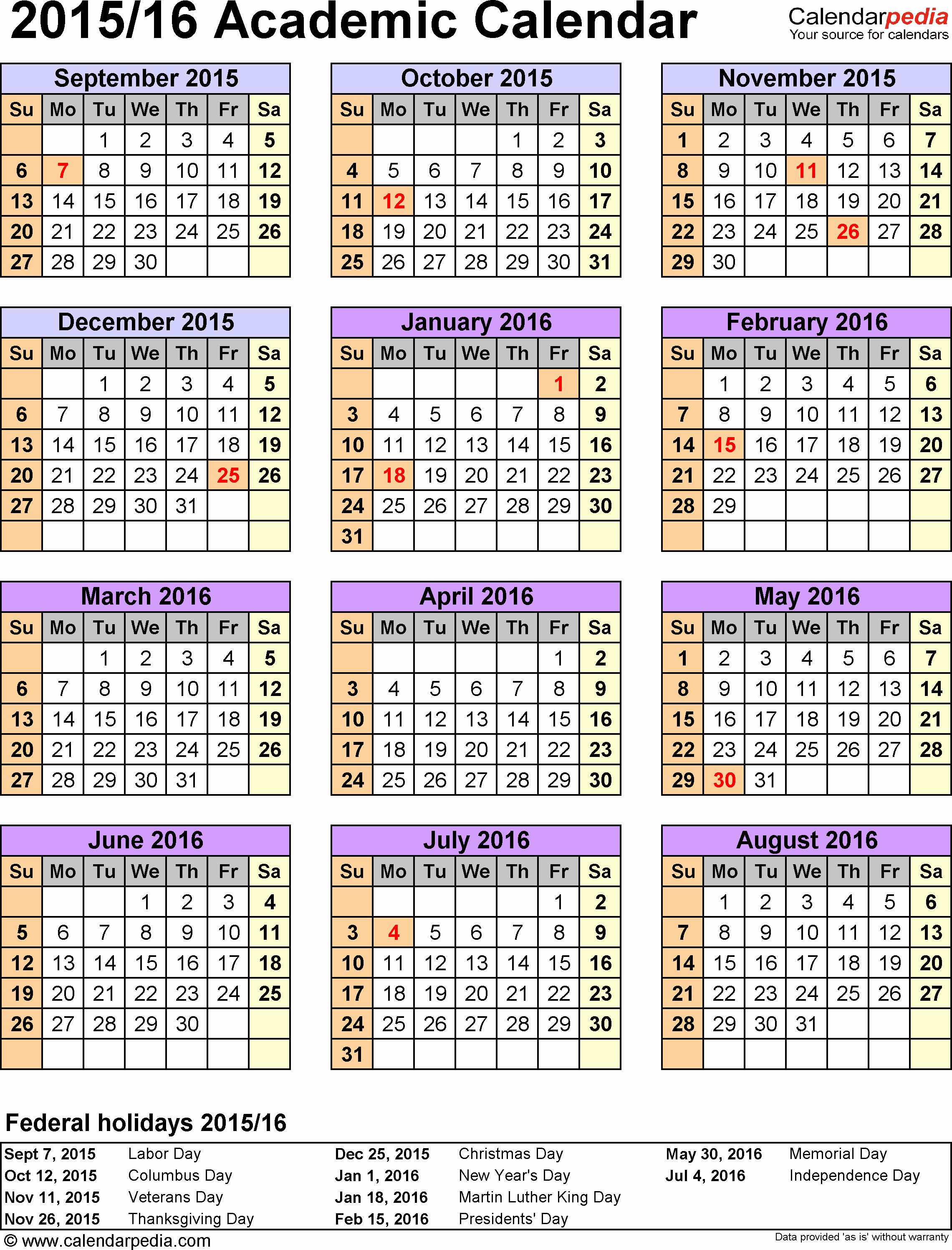 Blank Calendar 2016-17 Beautiful Academic Calendars 2015 2016 as Free Printable Excel Templates