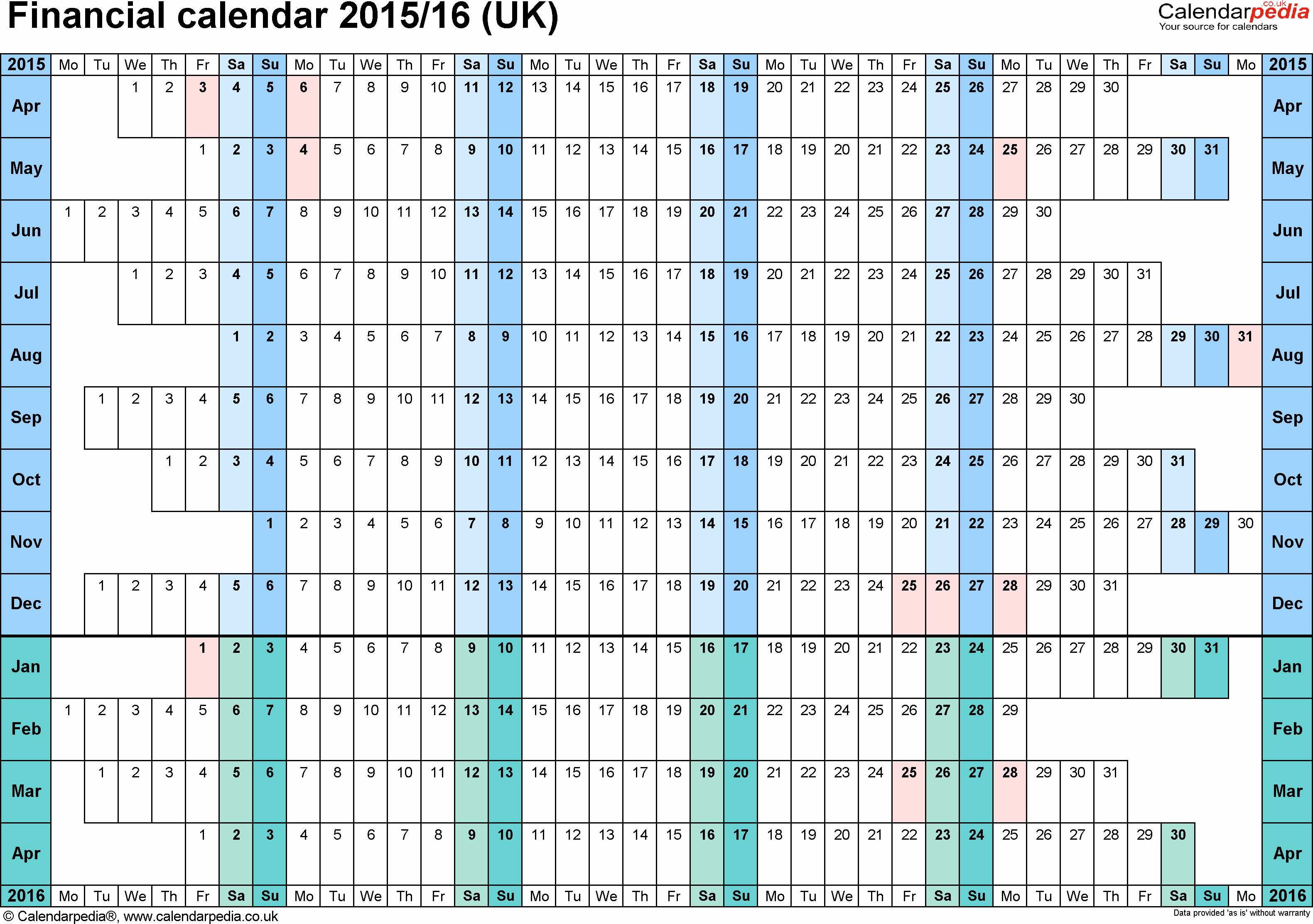 Blank Calendar 2016-17 Beautiful Financial Calendars 2015 16 Uk In Microsoft Word format