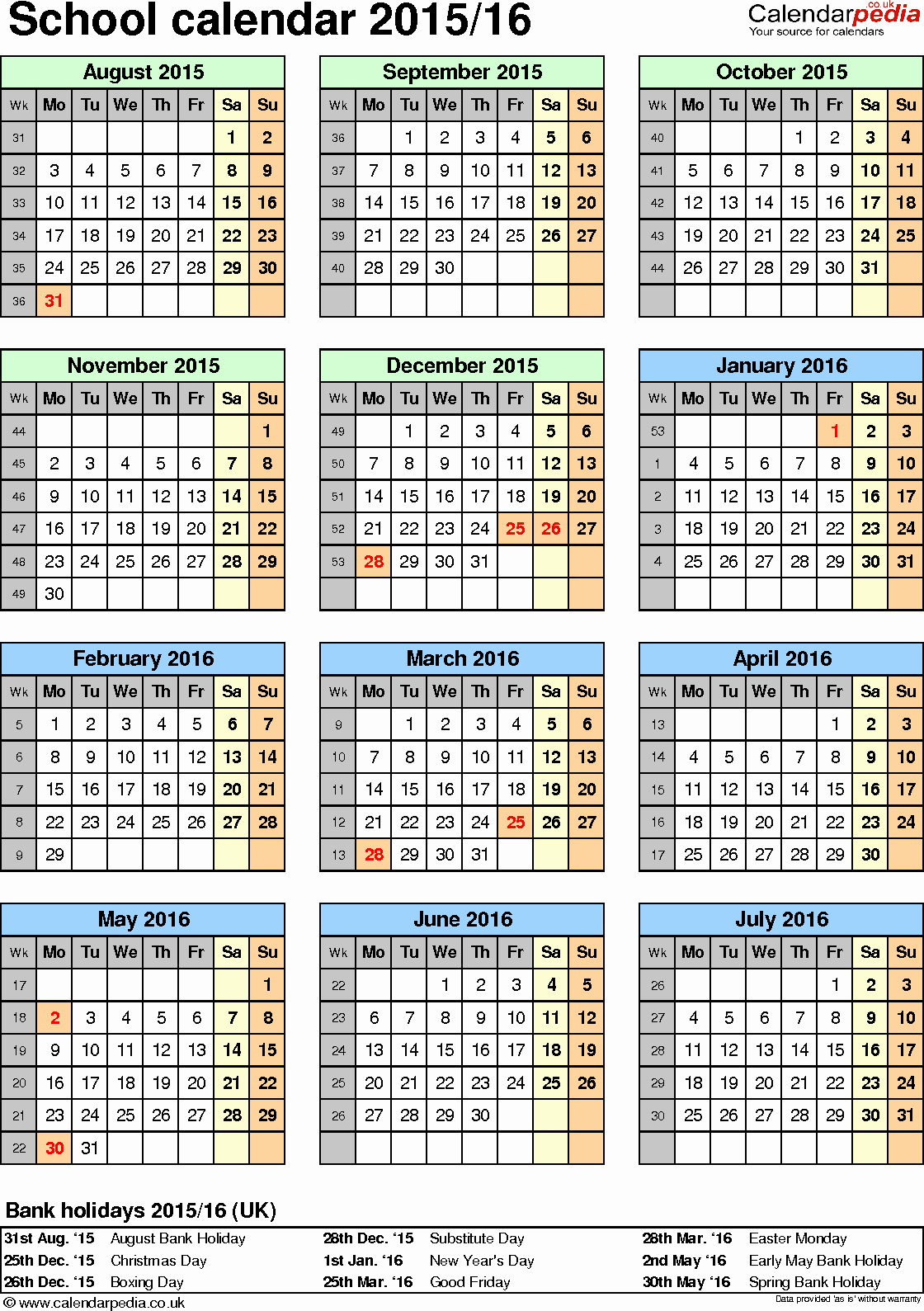 Blank Calendar 2016-17 Beautiful School Calendars 2015 2016 as Free Printable Word Templates