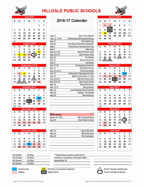 Blank Calendar 2016-17 Elegant Hilldale Public Schools 2016 2017 School Calendar Available