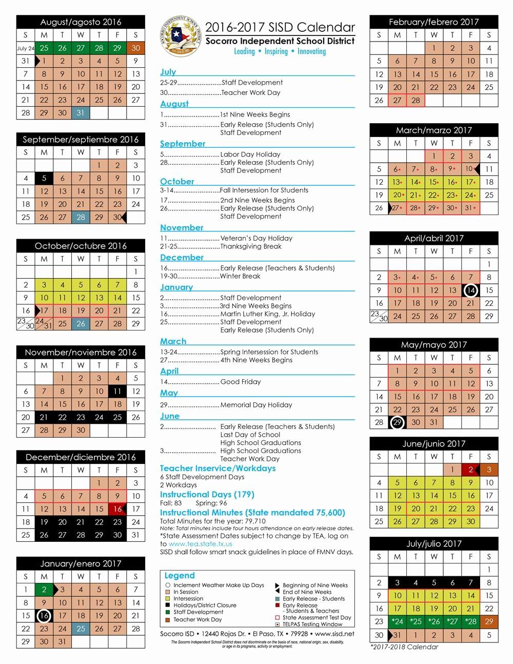 Blank Calendar 2016-17 Elegant Yisd Calendar