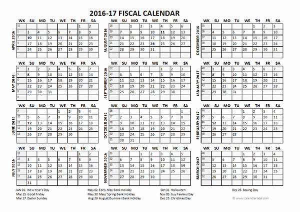 Blank Calendar 2016-17 Fresh 2016 Fiscal Year Calendar Uk 04 Free Printable Templates