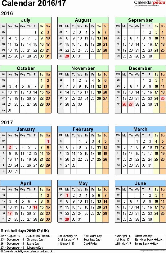 Blank Calendar 2016-17 Fresh Split Year Calendars 2016 17 July to June for Pdf Uk