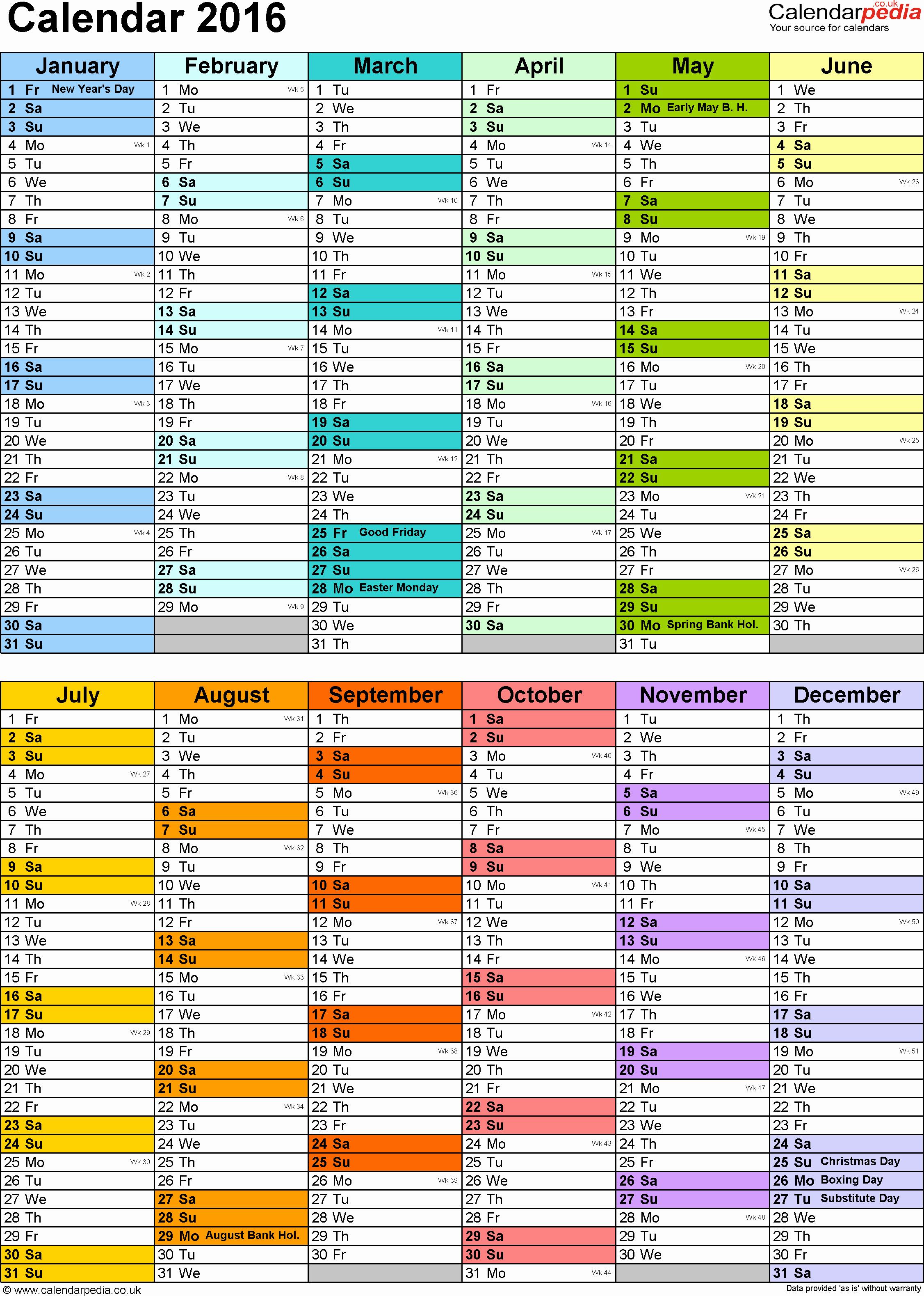 Blank Calendar 2016-17 Inspirational Calendar 2016 Uk 16 Free Printable Pdf Templates