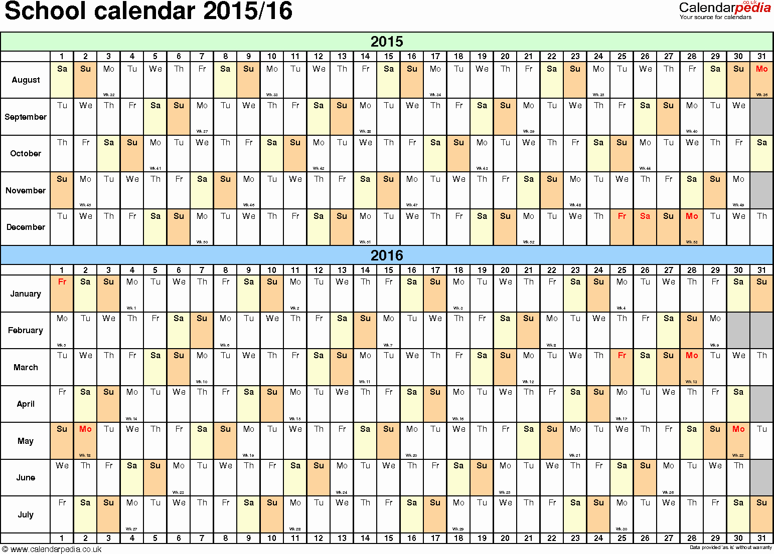 Blank Calendar 2016-17 Inspirational School Calendars 2015 2016 as Free Printable Word Templates