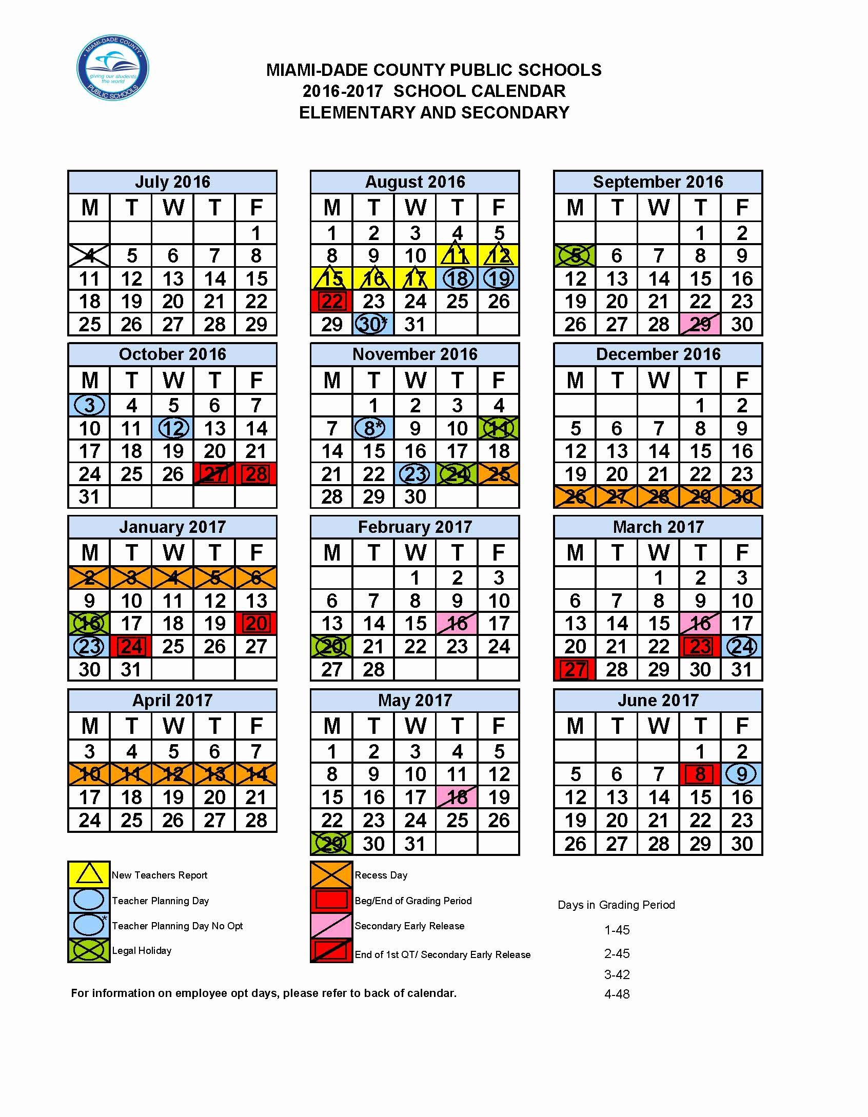 Blank Calendar 2016-17 Lovely Mdcps 2016 2017 Academic Calendar – Dr Dorothy Bendross