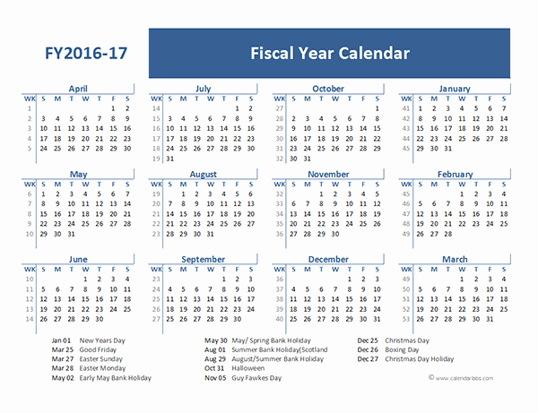 Blank Calendar 2016-17 Luxury 2016 Fiscal Year Calendar Uk 05 Free Printable Templates