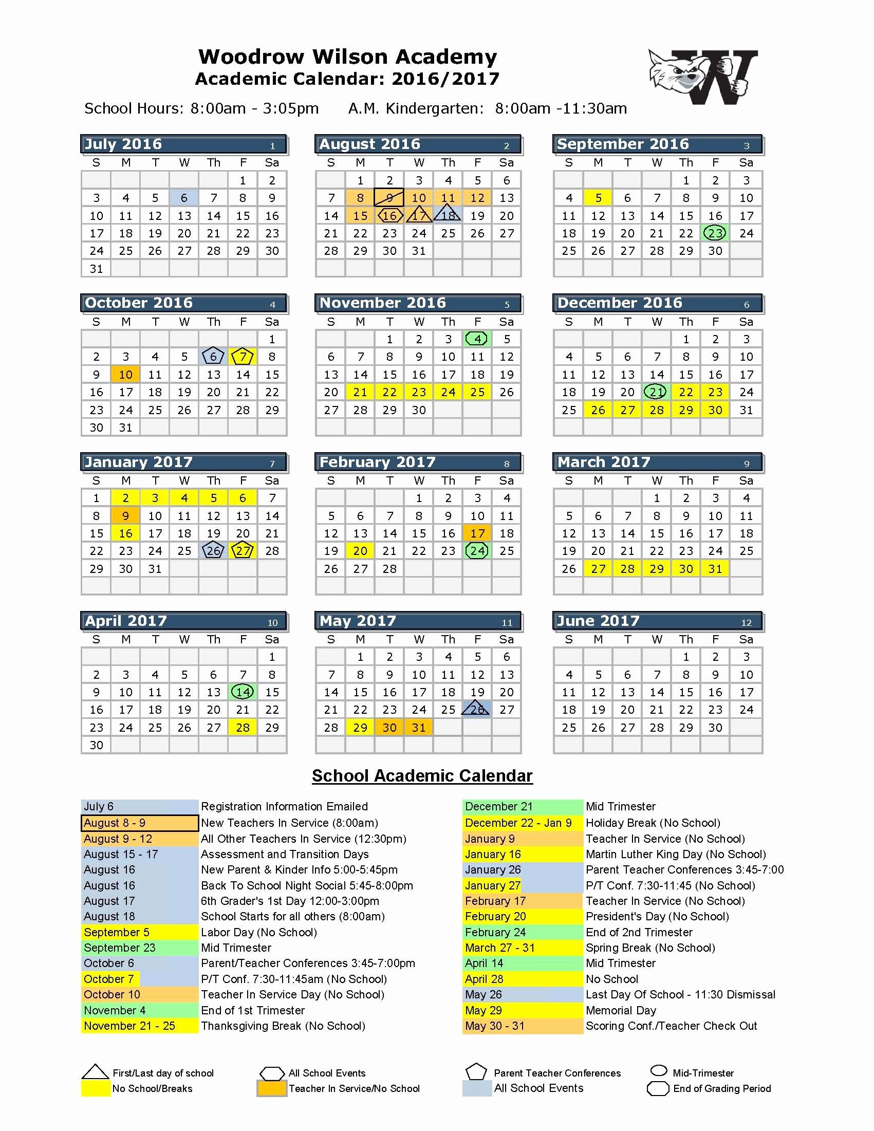 Blank Calendar 2016-17 New 2016 2017 School Calendar Woodrow Wilson Academy