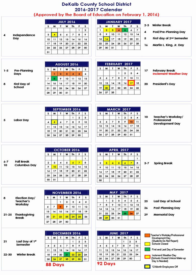 Blank Calendar 2016-17 New Dekalb County Schools 2016 17 Calendar
