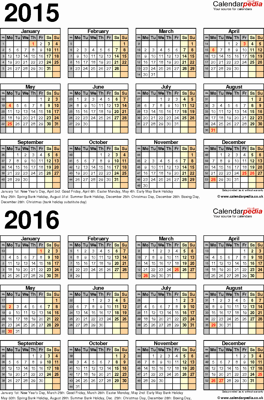 Blank Calendar 2016-17 New Two Year Calendars for 2015 & 2016 Uk for Pdf