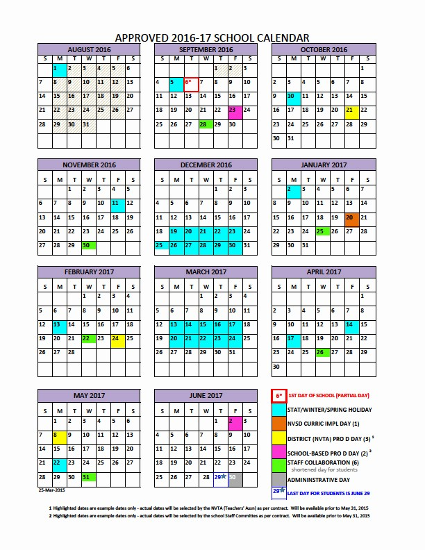 Blank Calendar 2016-17 Unique District Calendar north Vancouver School District