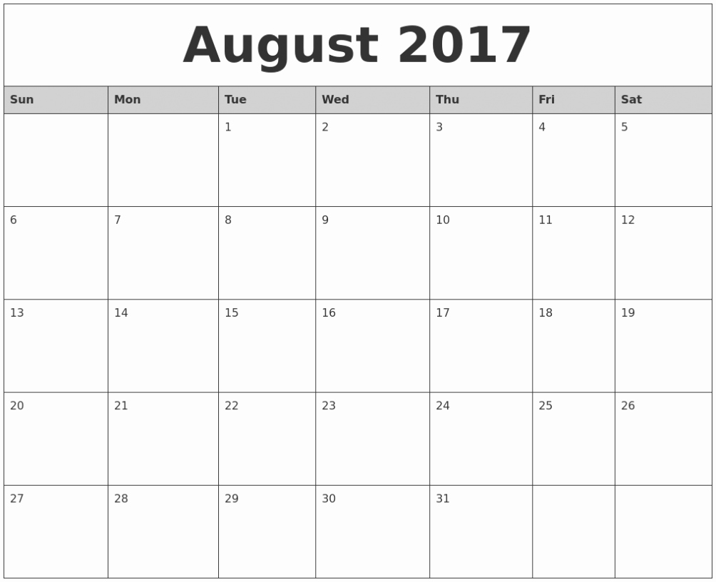 Blank Calendar Template August 2017 Awesome August 2017 Calendar Fillable