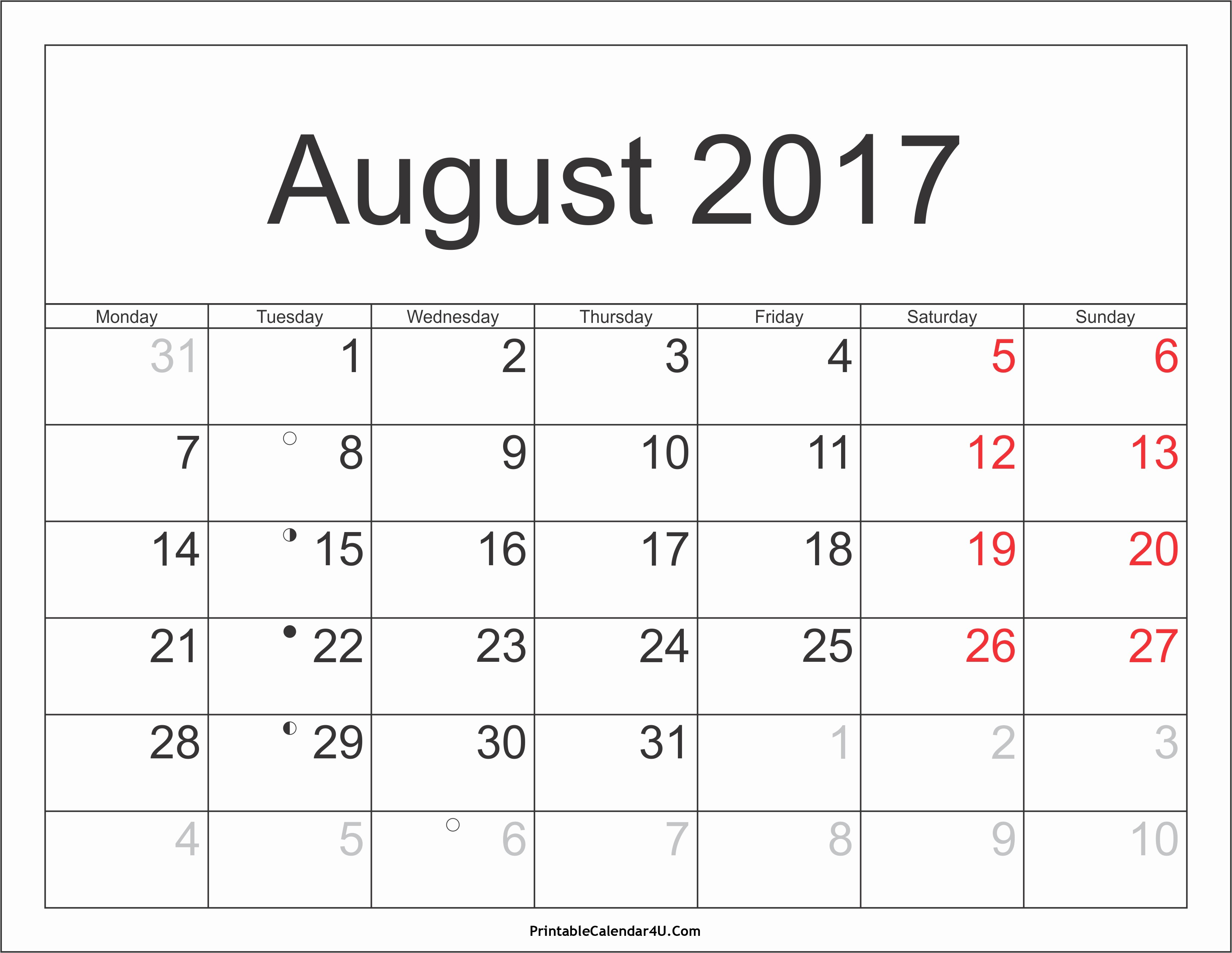 Blank Calendar Template August 2017 Awesome August 2017 Calendar Printable with Holidays 2 Printable