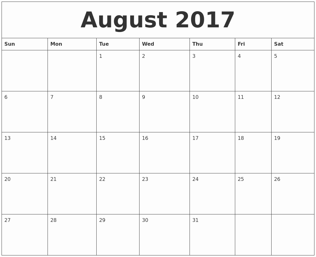 Blank Calendar Template August 2017 Awesome August 2017 Free Calendar Printable