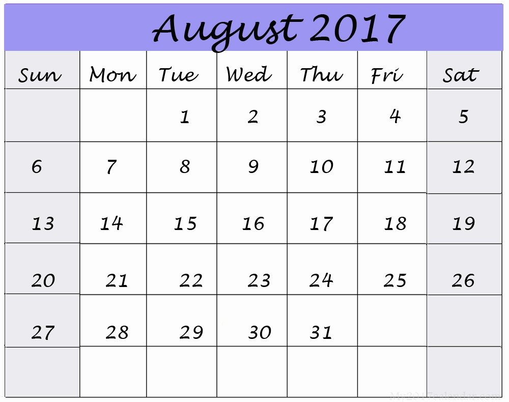 Blank Calendar Template August 2017 Awesome August 2017 Printable Calendar