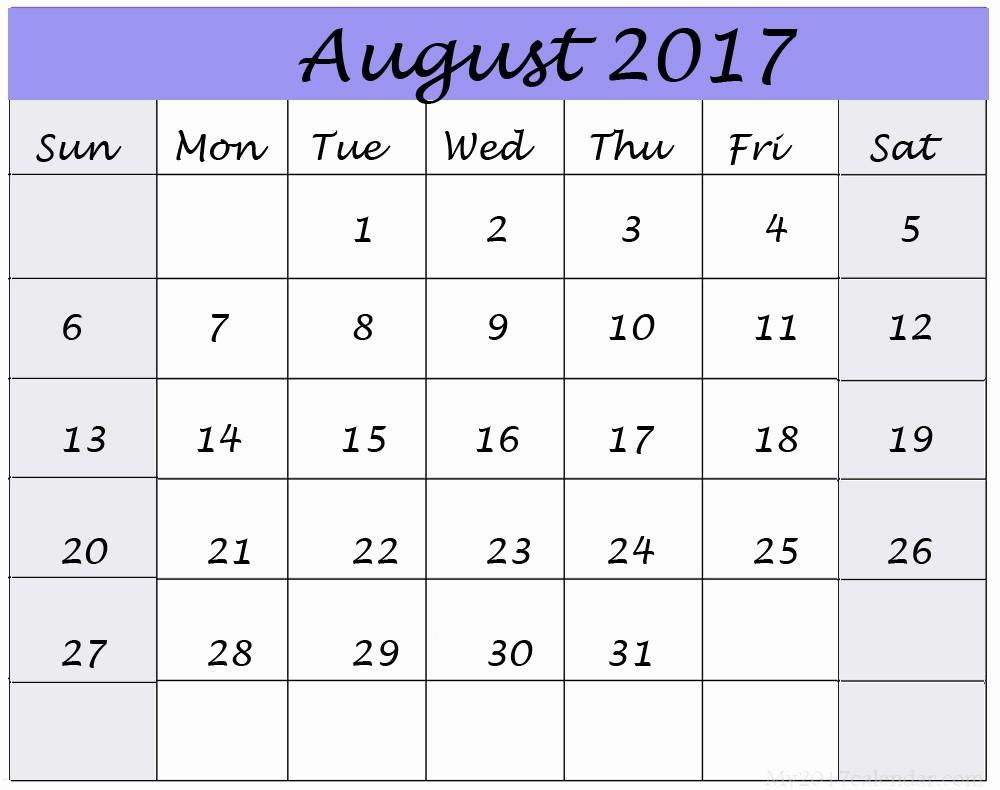Blank Calendar Template August 2017 Awesome August 2017 Printable Calendar