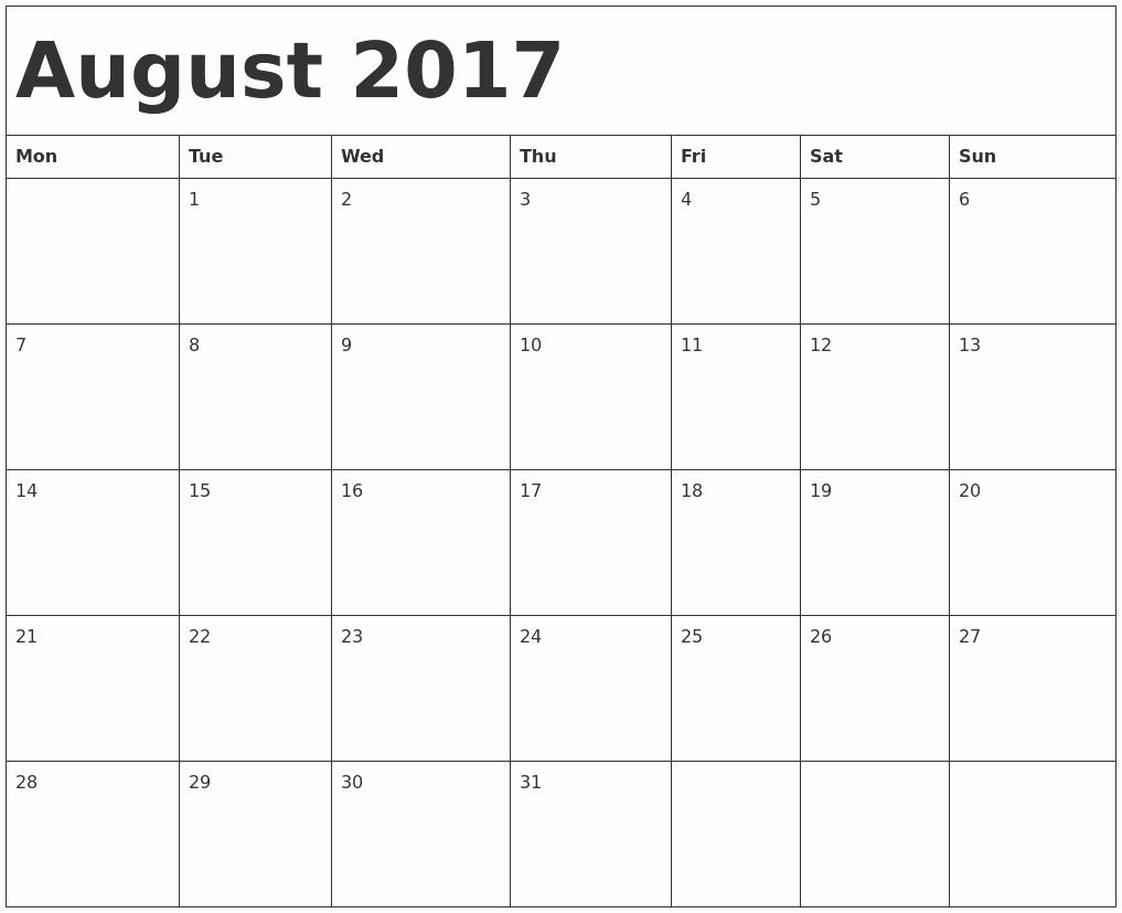 Blank Calendar Template August 2017 Beautiful August 2017 Calendar Template