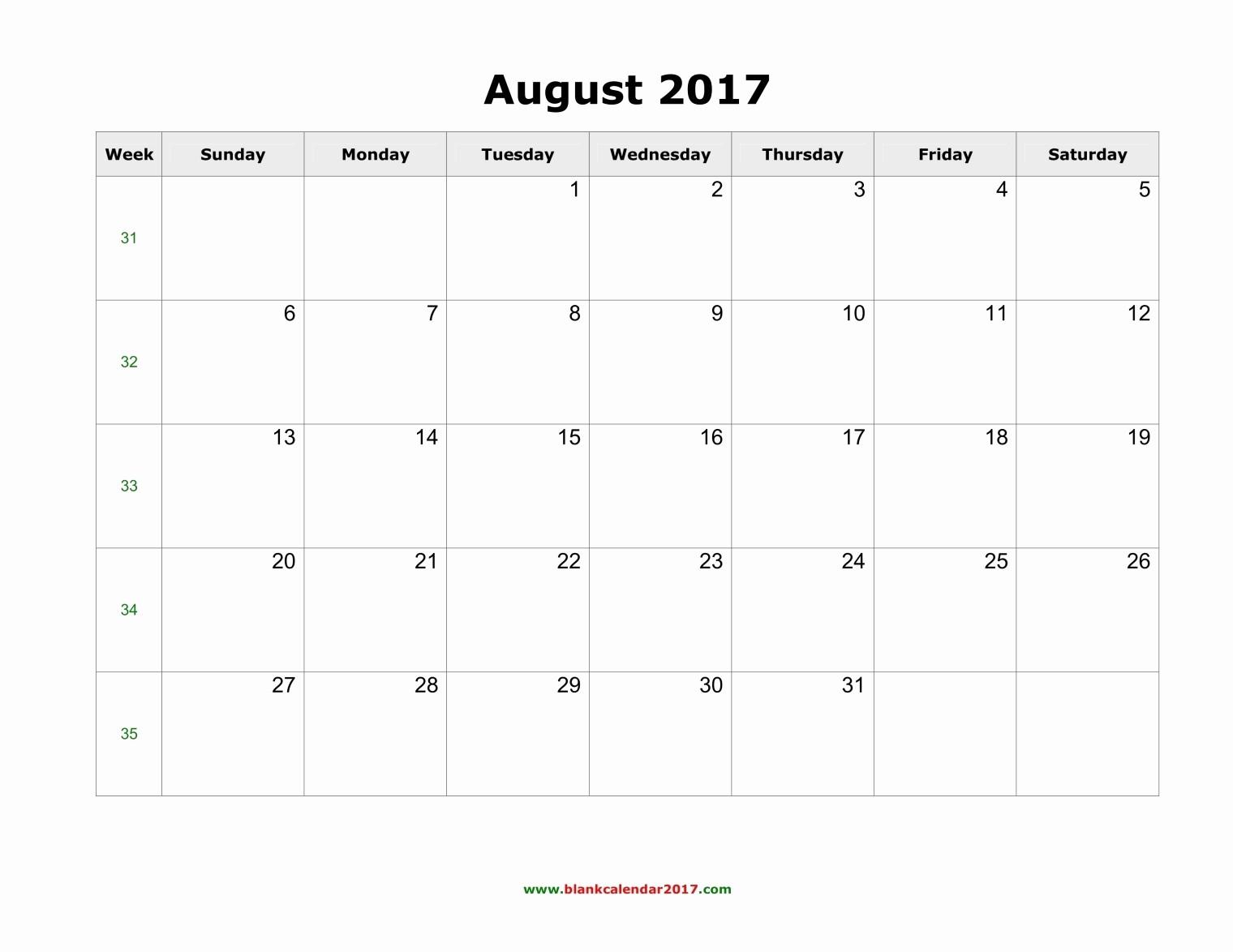 Blank Calendar Template August 2017 Beautiful August 2017 Calendar with Holidays