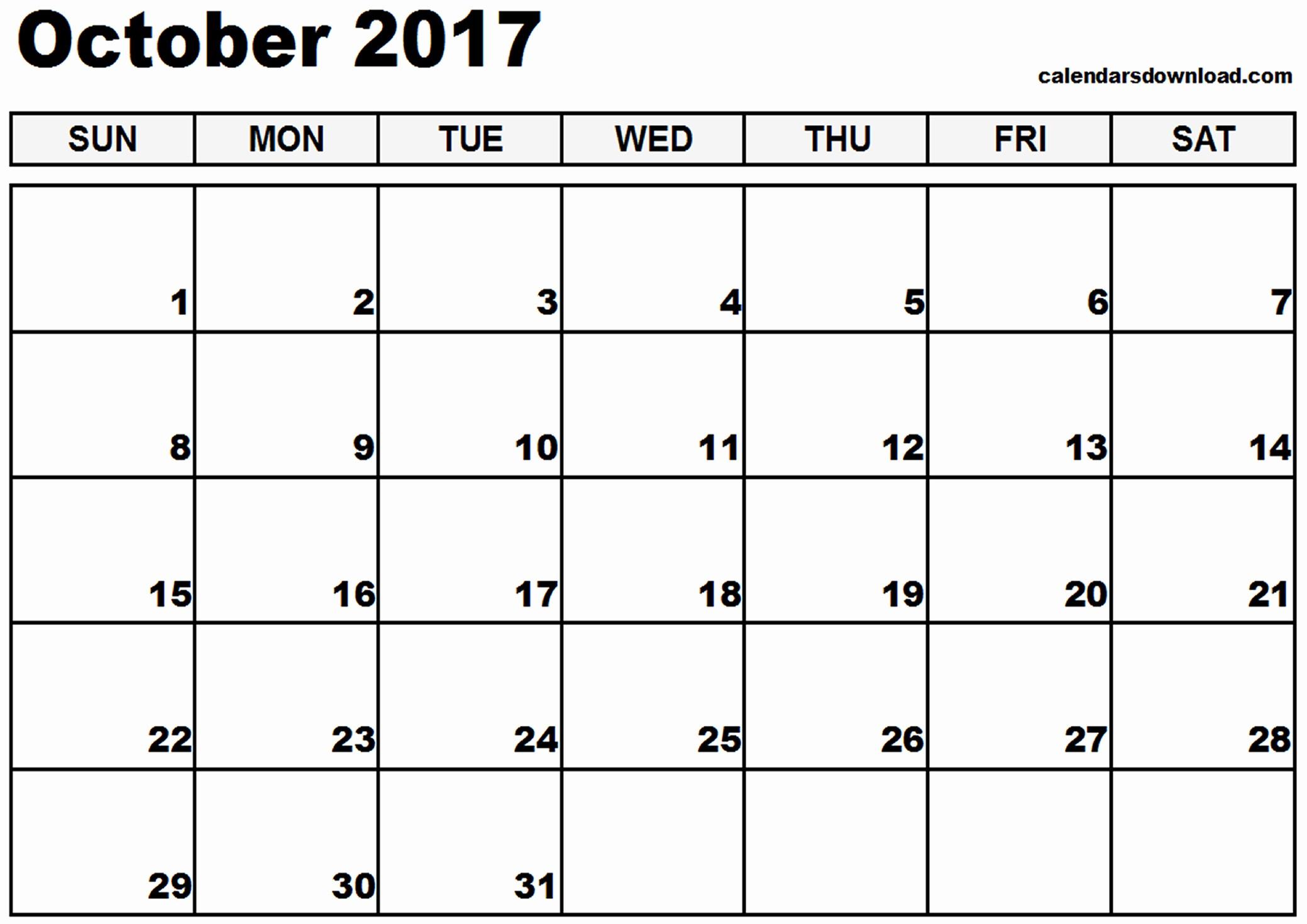 Blank Calendar Template August 2017 Best Of Blank October 2017 Calendar