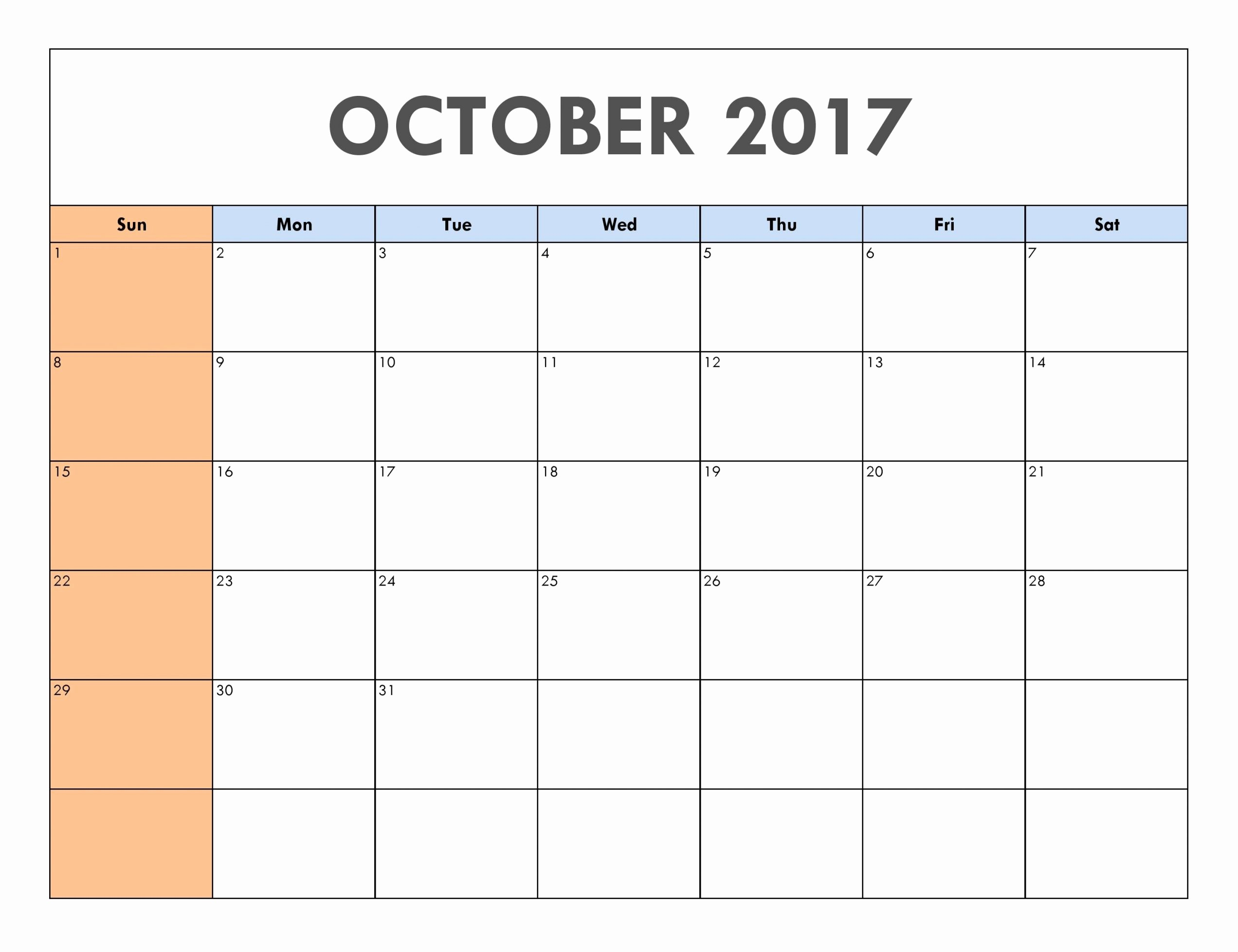 Blank Calendar Template August 2017 Best Of October 2017 Calendar Printable Template