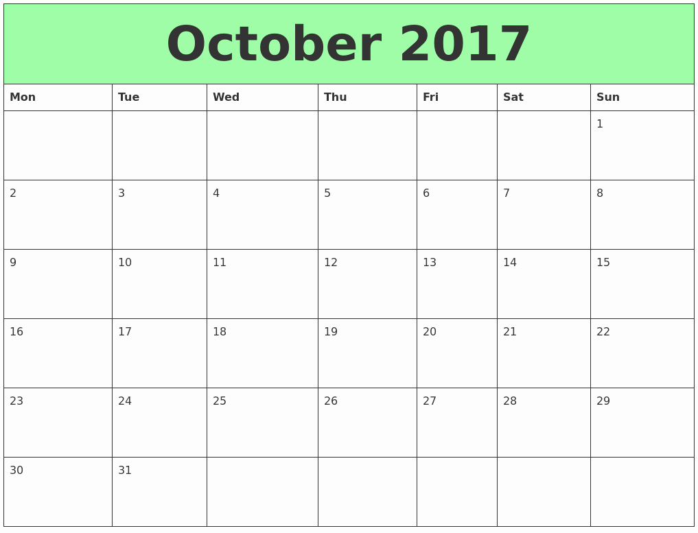 Blank Calendar Template August 2017 Best Of October 2017 Printable Calendar Template Holidays Excel
