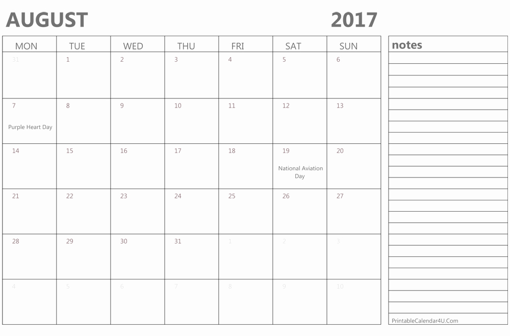 Blank Calendar Template August 2017 Best Of Printable August 2017 Calendar Template Monthly Calendar
