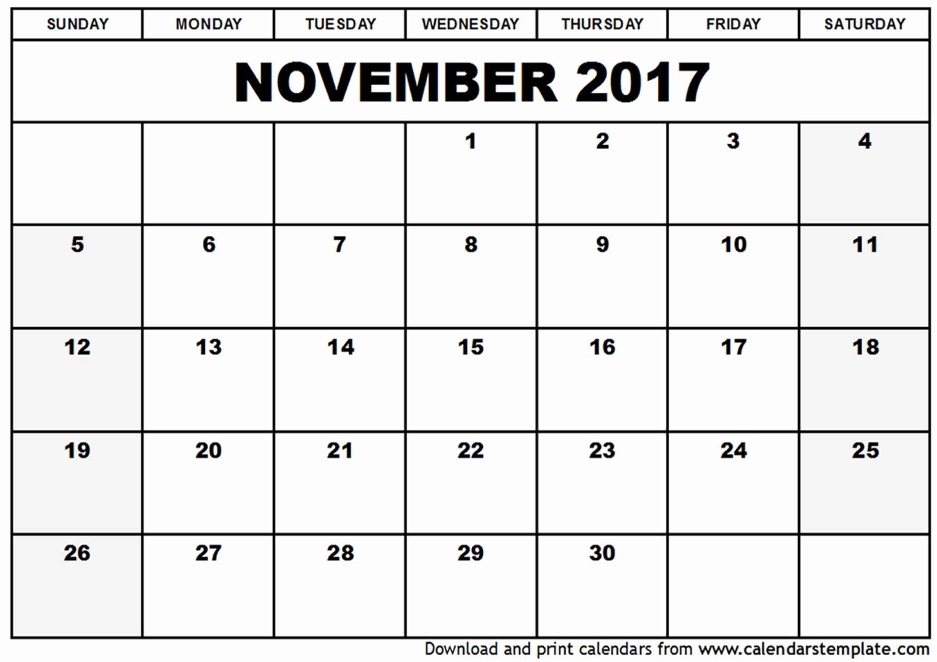 Blank Calendar Template August 2017 Elegant November 2017 Calendar Template