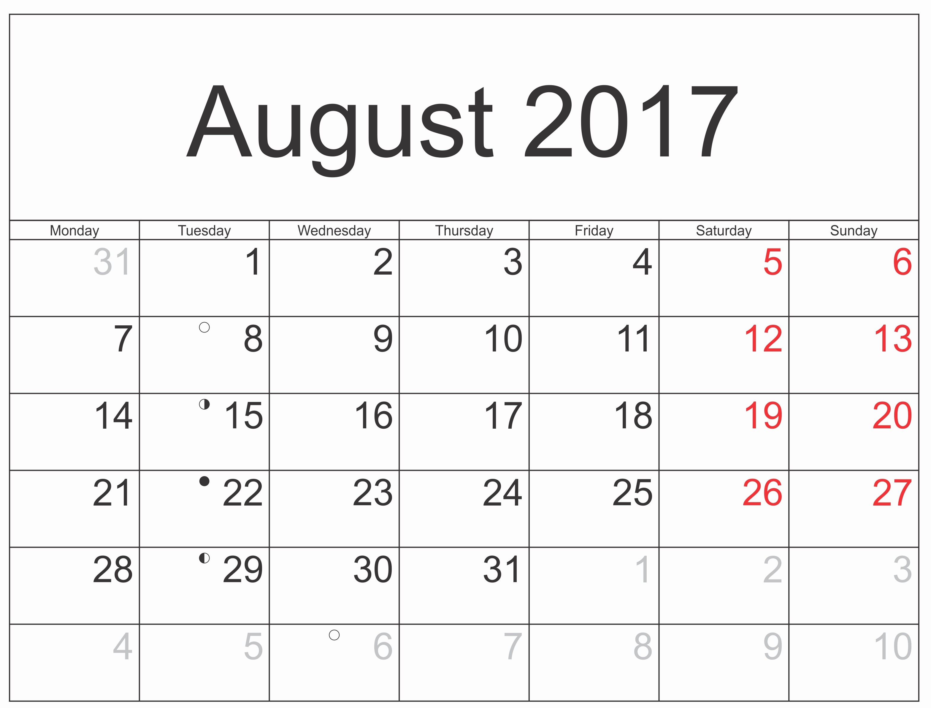 Blank Calendar Template August 2017 Fresh August 2017 Printable Calendar Templates
