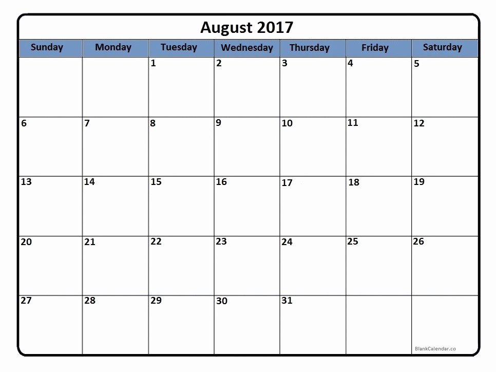 Blank Calendar Template August 2017 Inspirational August 2017 Calendar August 2017 Calendar Printable