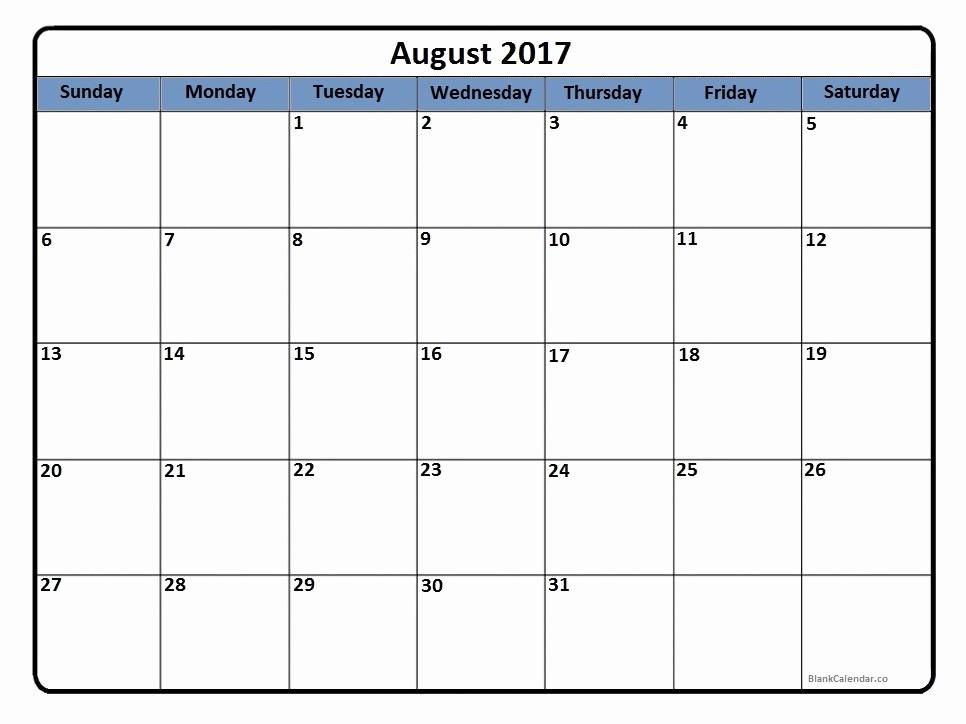 Blank Calendar Template August 2017 Inspirational August 2017 Calendar August 2017 Calendar Printable